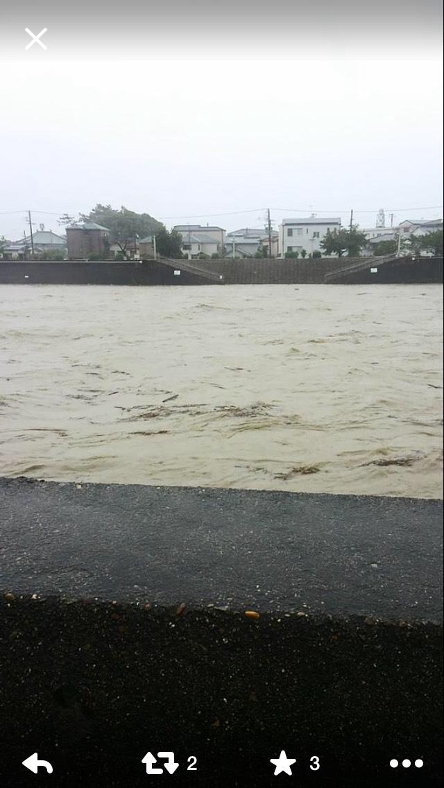 台風で明石川がすごい事に!