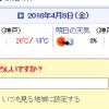 Yahooのトップページにある天気情報の地域を変更したい